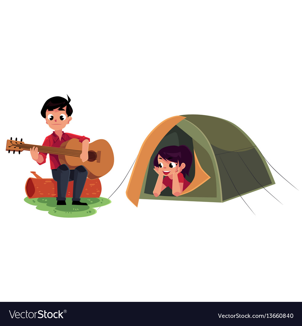 Camping kids - boy and girl playing guitar and