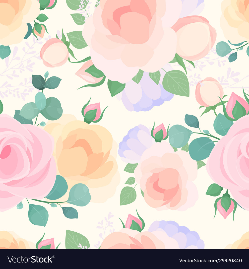 Flowers pastel color flat seamless pattern