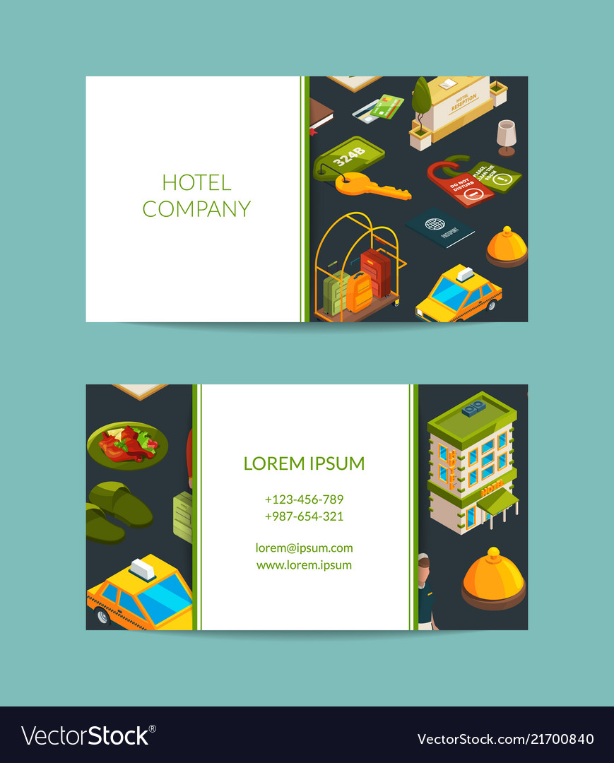 Isometric hotel icons business card set