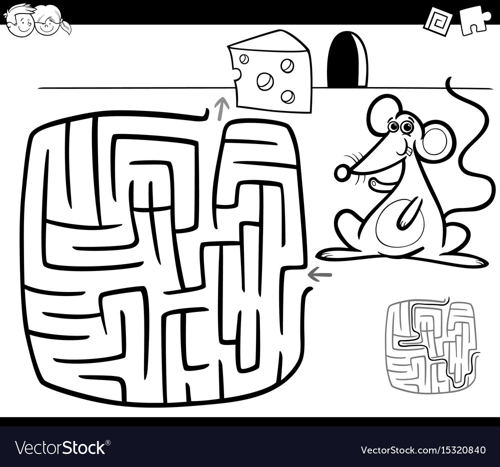 Maze with mouse coloring page vector image