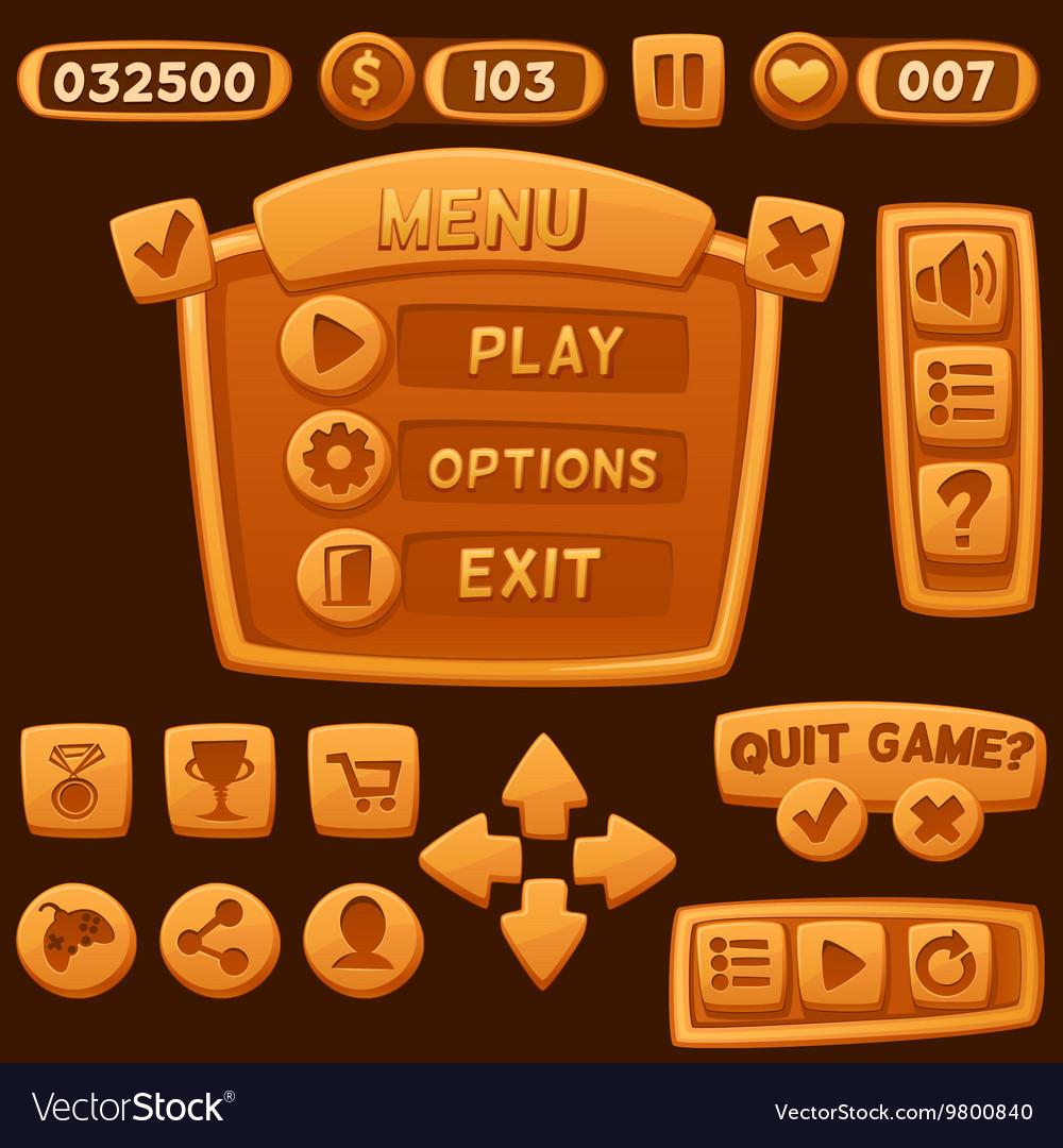 Set of orange cartoon buttons