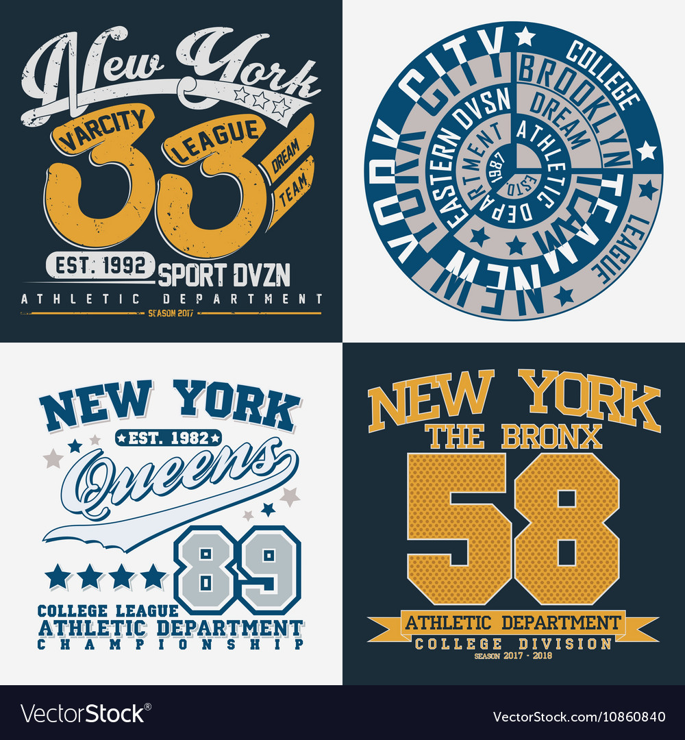 Set Of Tee Shirt Print Designs Royalty Free Vector Image