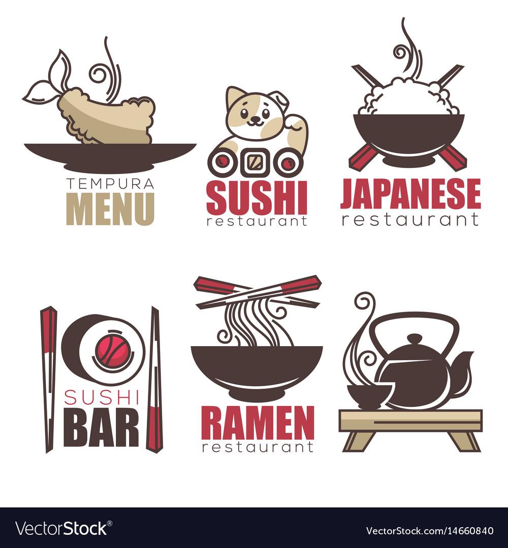 Sushi tempura ramen tea doodle cartoon logo vector image