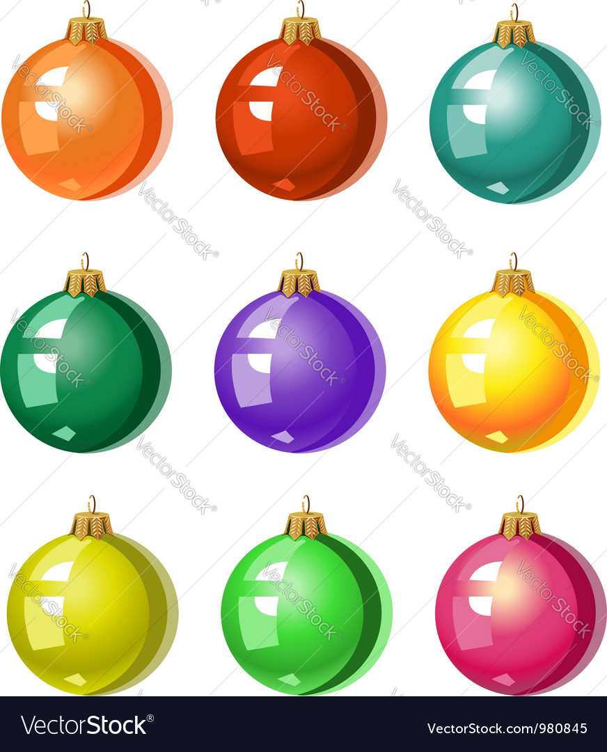 Christmas Tree Balls.A Set Of Christmas Tree Ornaments Colored Balls