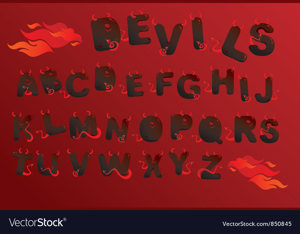 Alphabet with funny demons letters and fire vector image