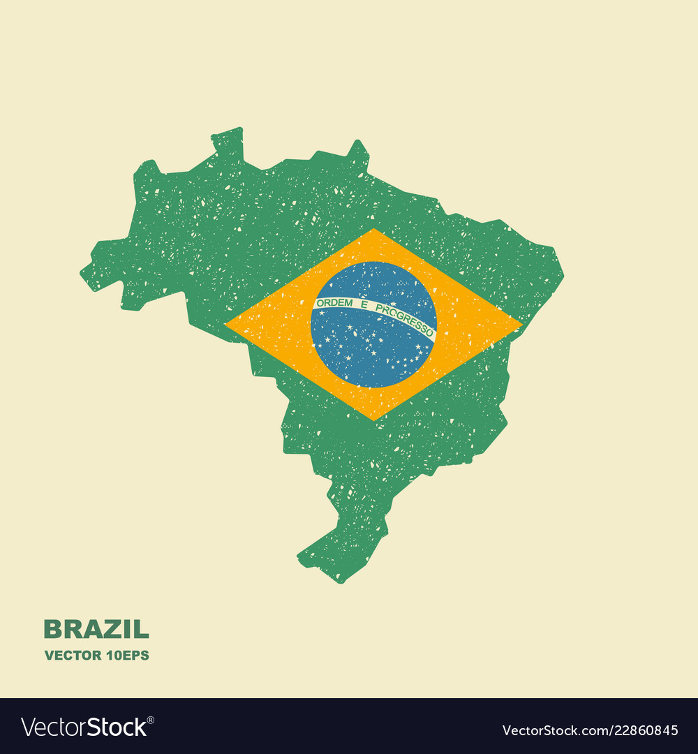 Brazil map with flag with scuffed effect
