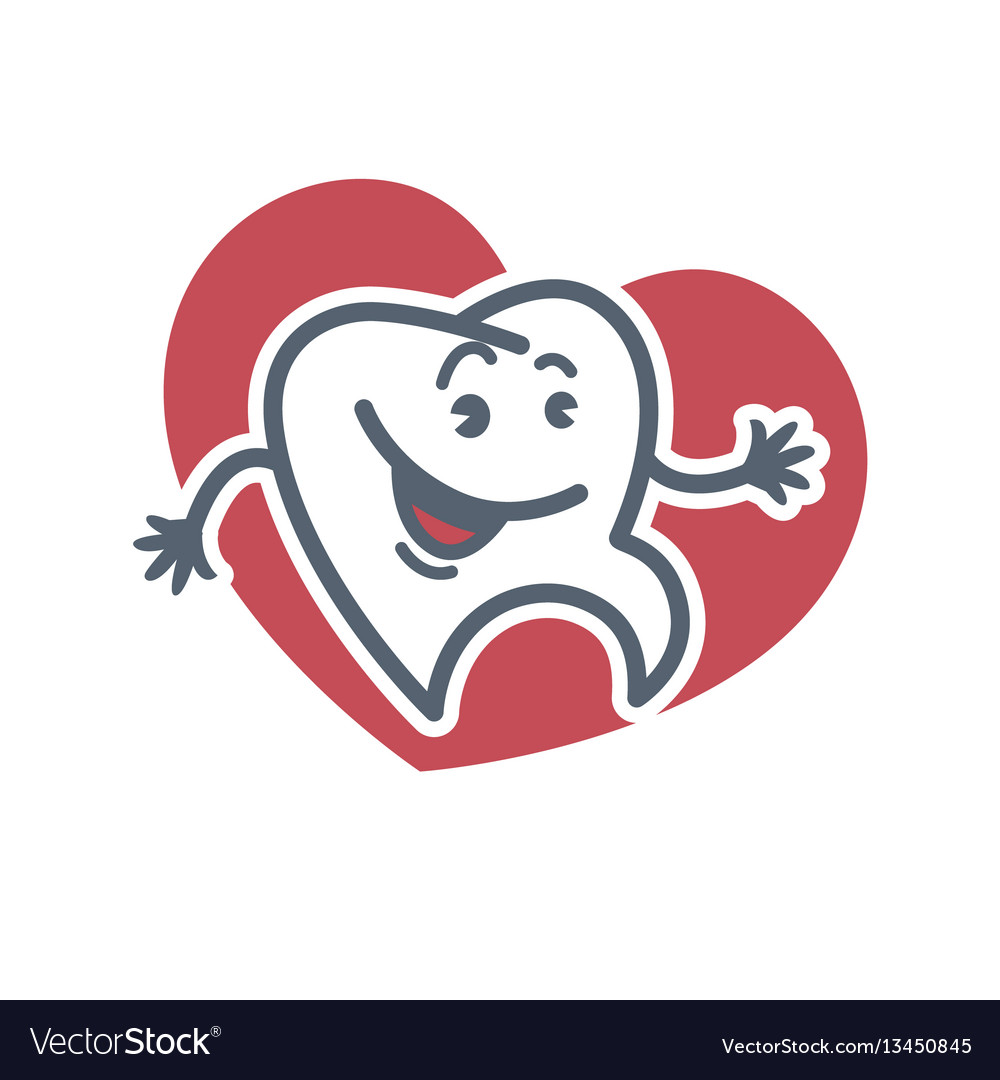 Cartoon tooth logo template for child dentistry or