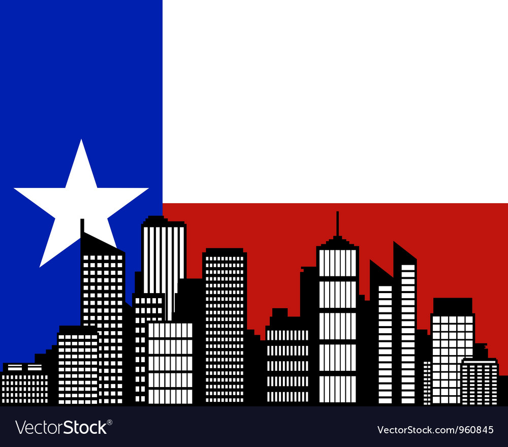 City and flag of Texas