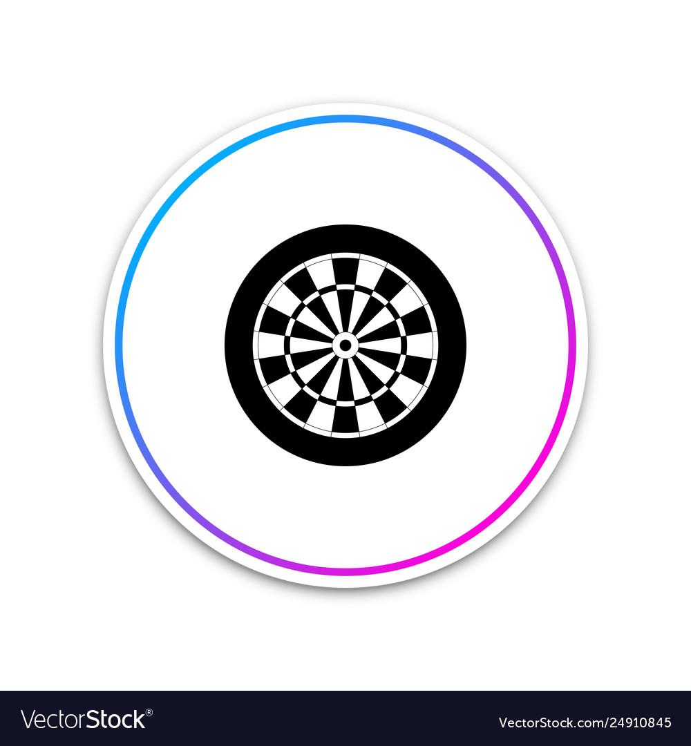 Classic darts board with twenty black and white