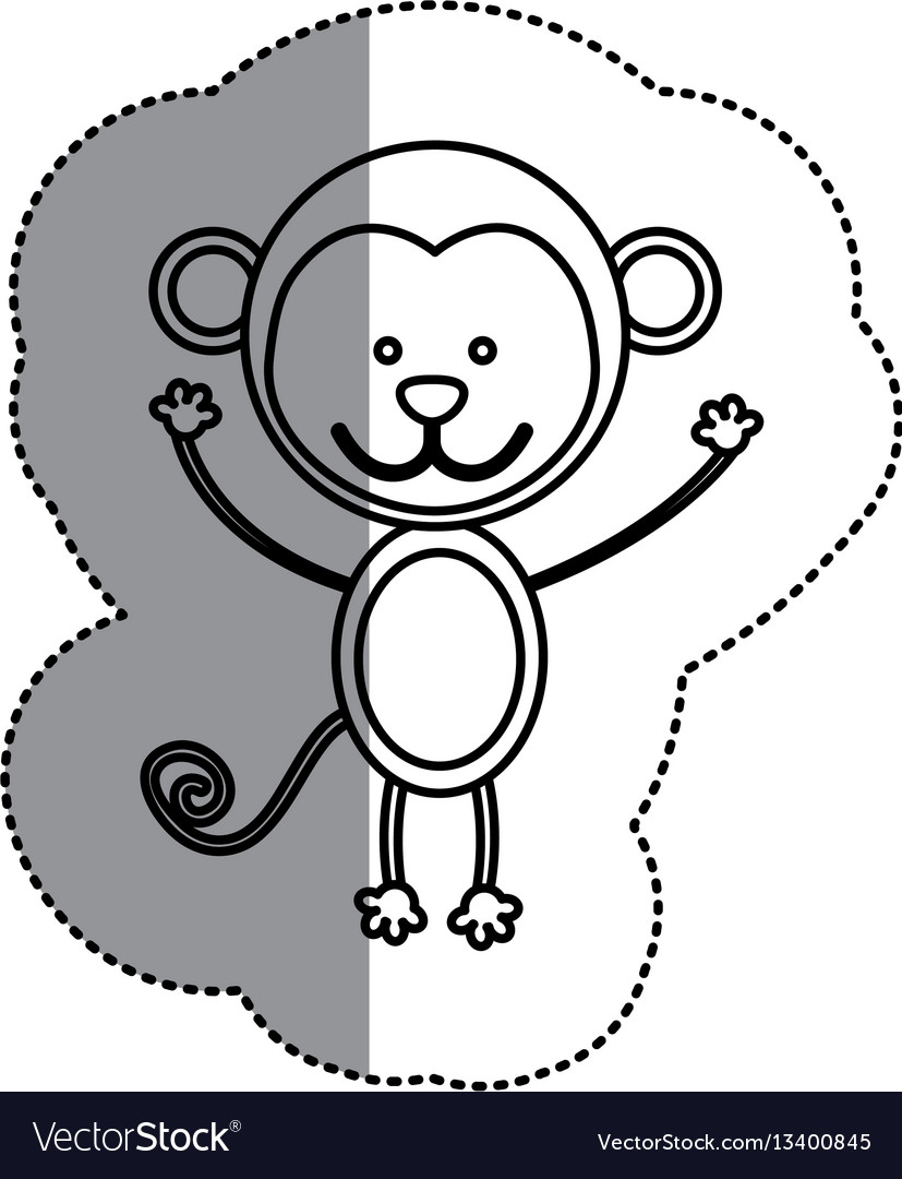 Contour teddy monkey icon