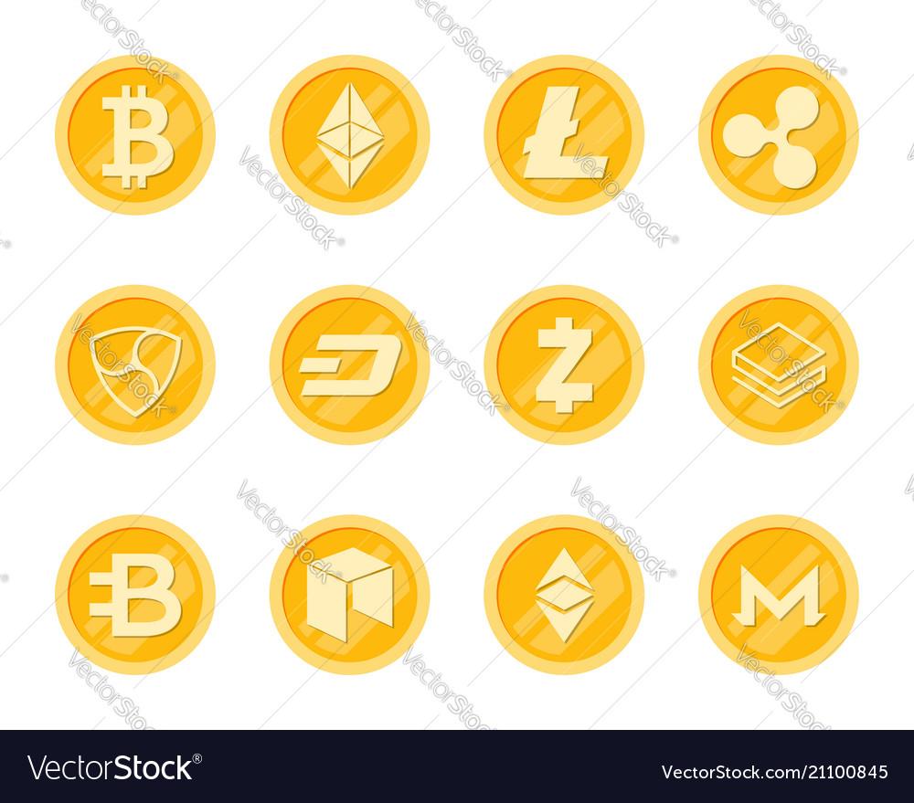 Crupto coins icons set