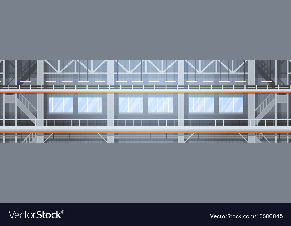 Empty factory conveyor automatic assembly line vector image