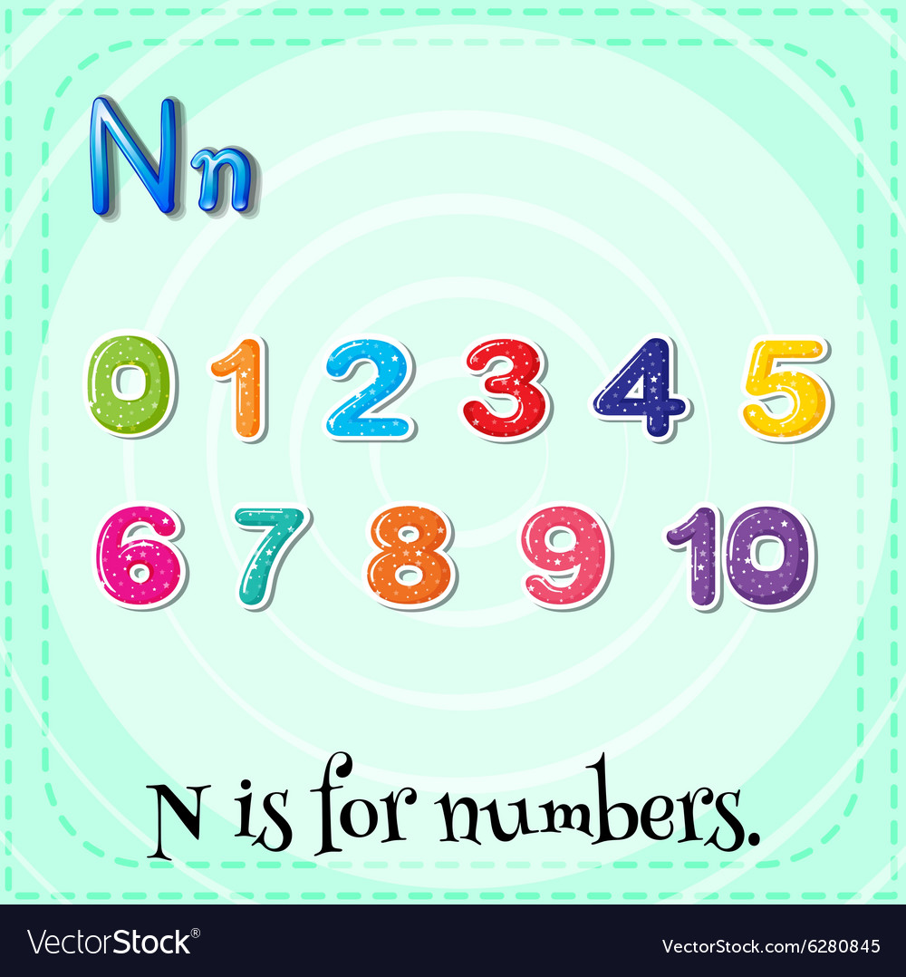 Flashcard N is for numbers vector image