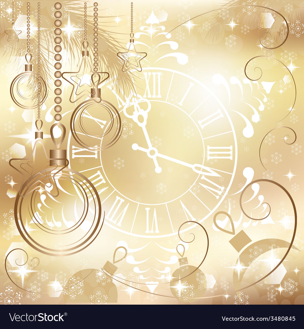 Christmas Background Images Gold.Gold Christmas Background With Clock