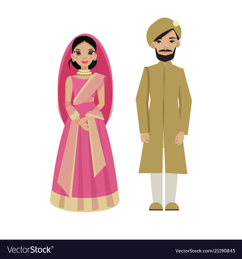 Indian couple in traditional wedding dress