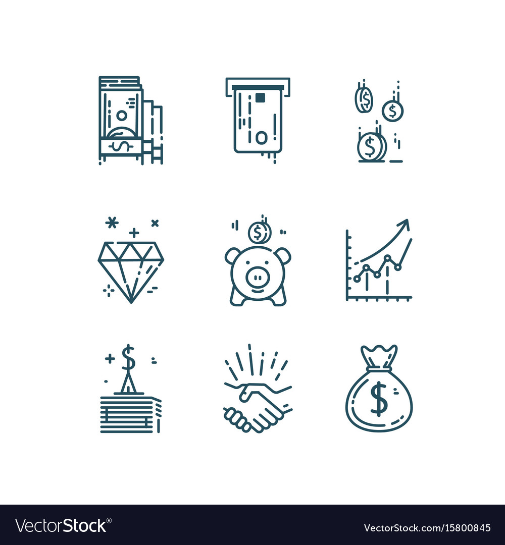 Money finance line icons set