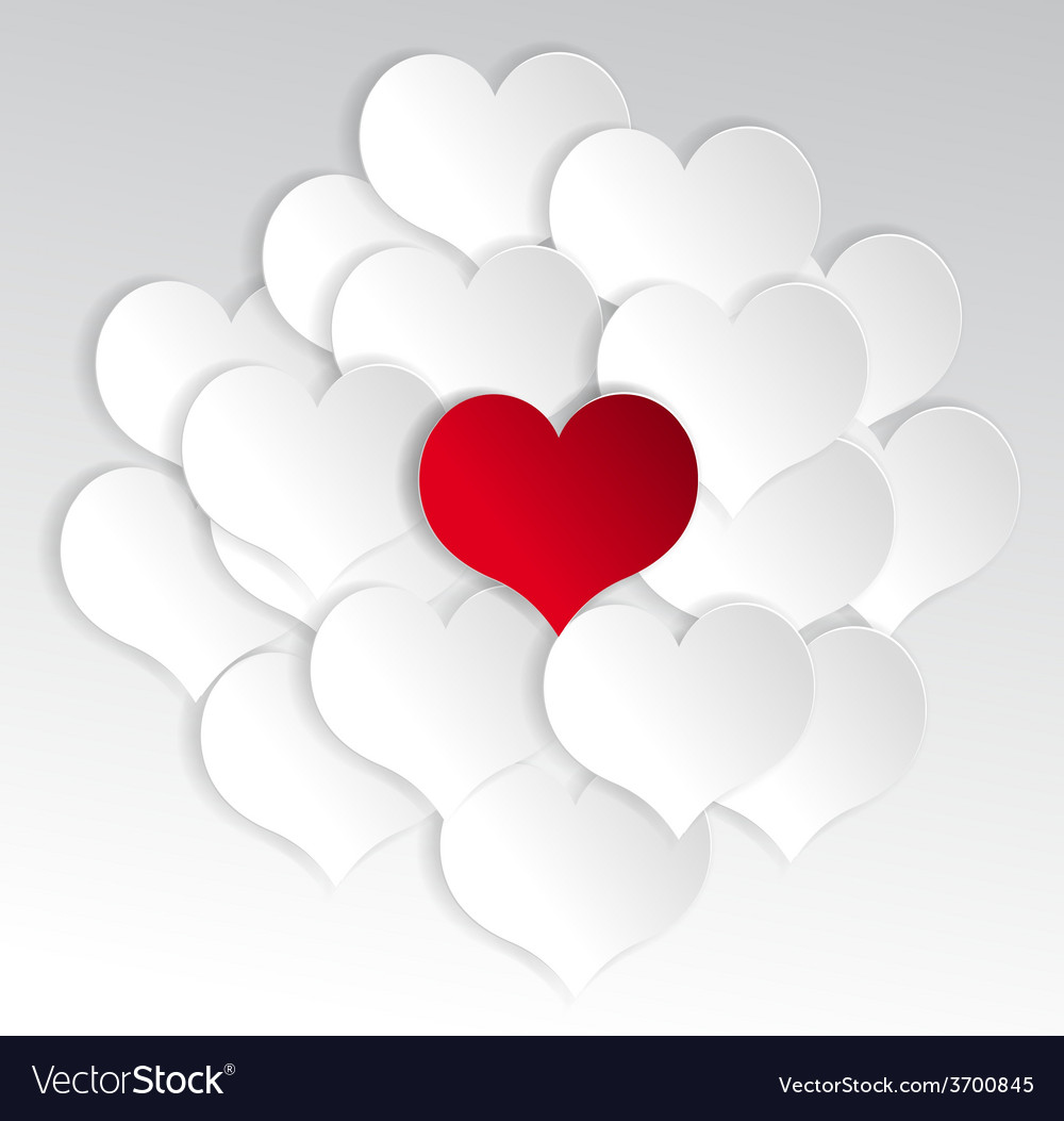 Paper hearts background with alone red heart
