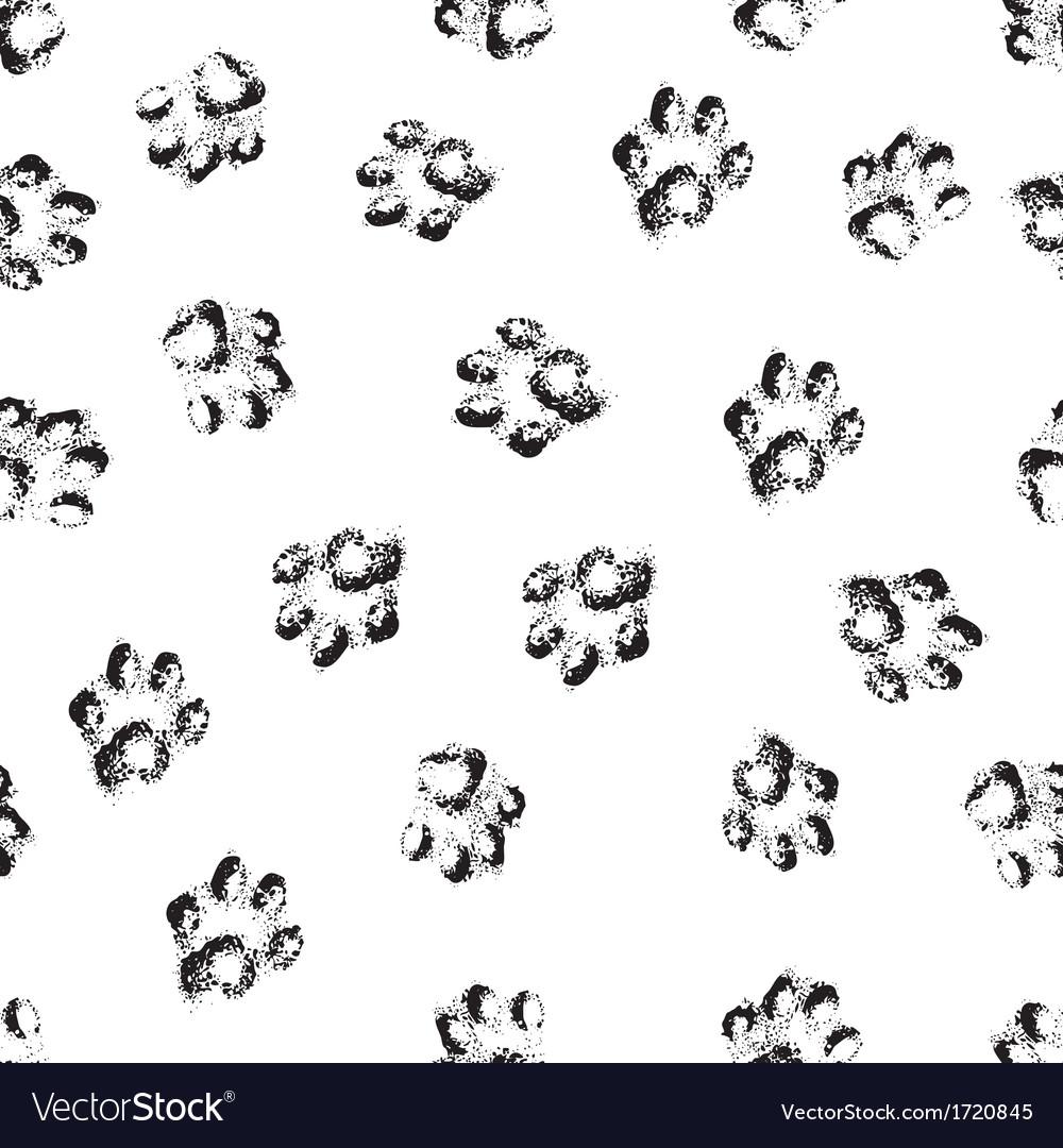 Paw grunge footprint of dog or cat seamless
