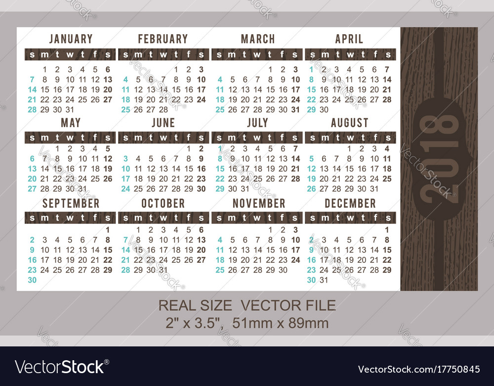 Pocket Calendar 2018 Start On Sunday Royalty Free Vector