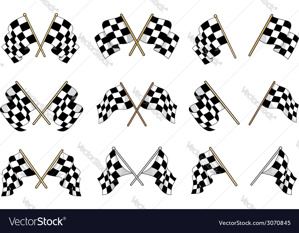 Set of checkered flags