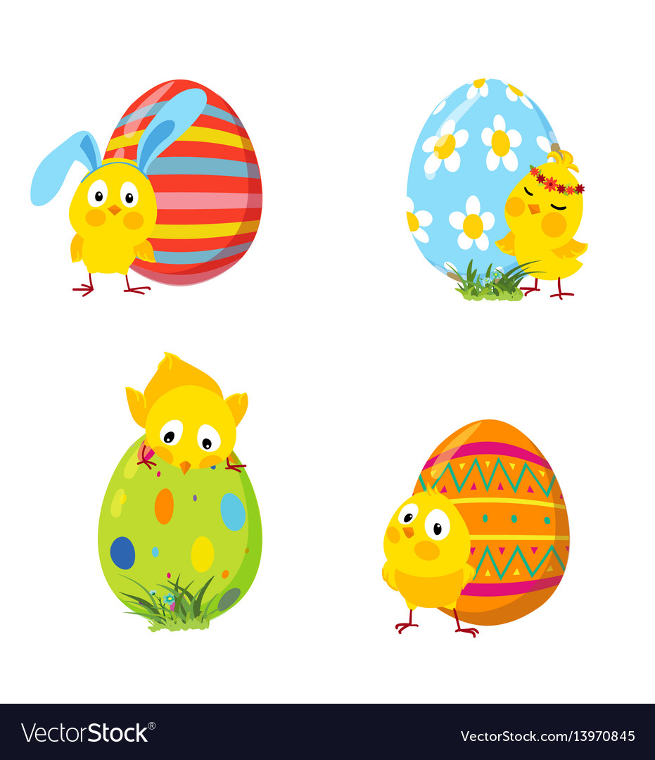 Set of funny easter chickens and eggs