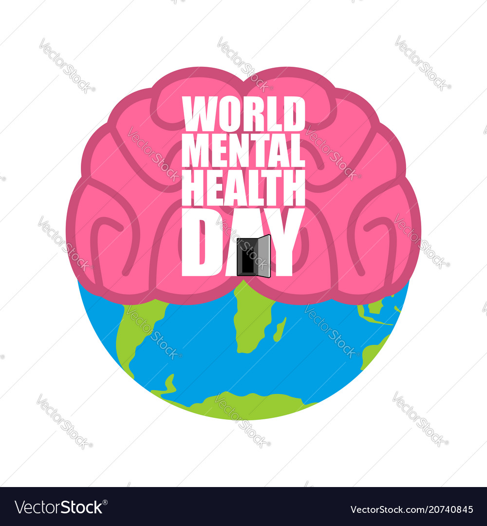 World Mental Health Day Brain And Earth Royalty Free Vector