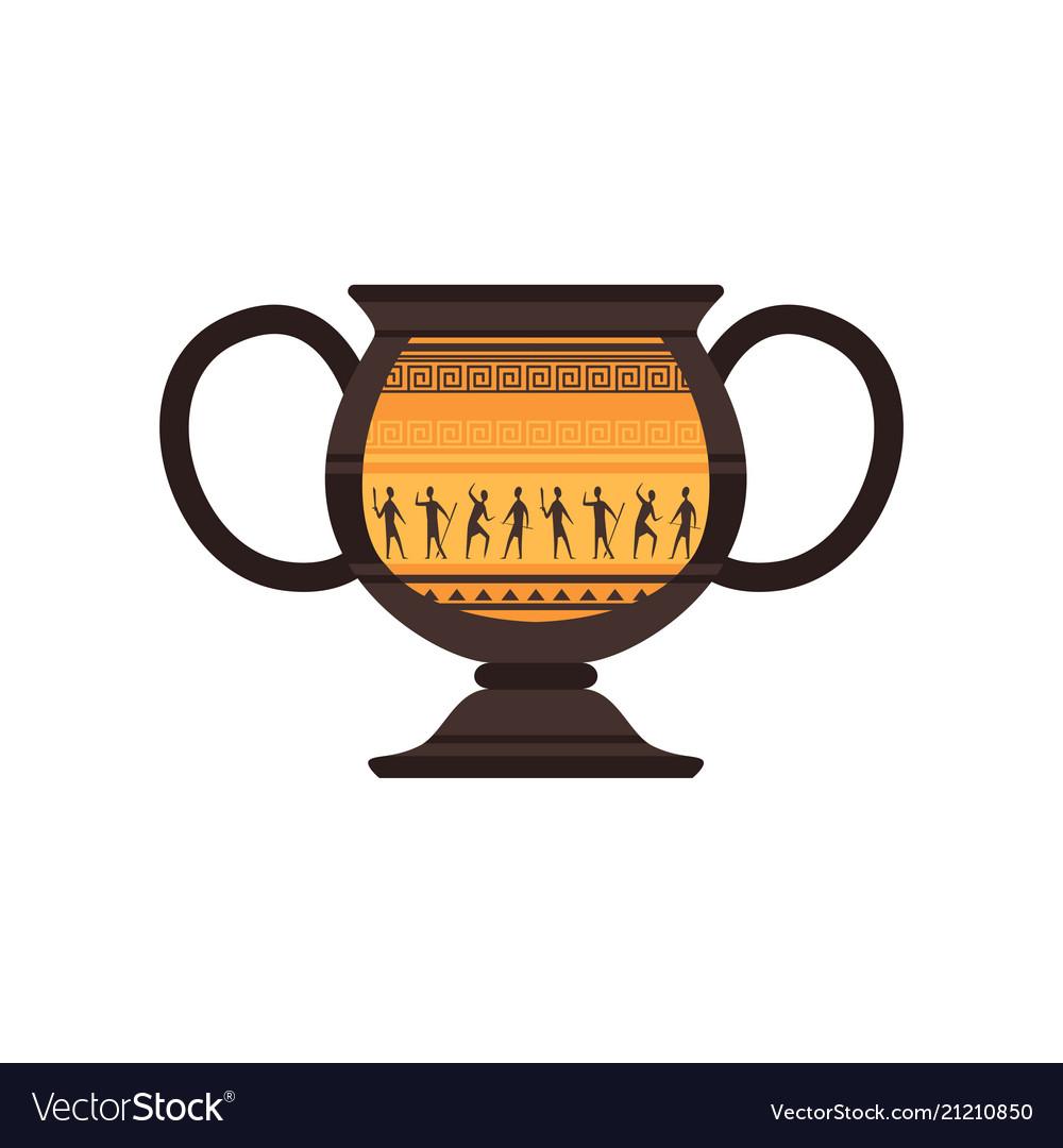 Ancient ceramic amphora with traditional roman