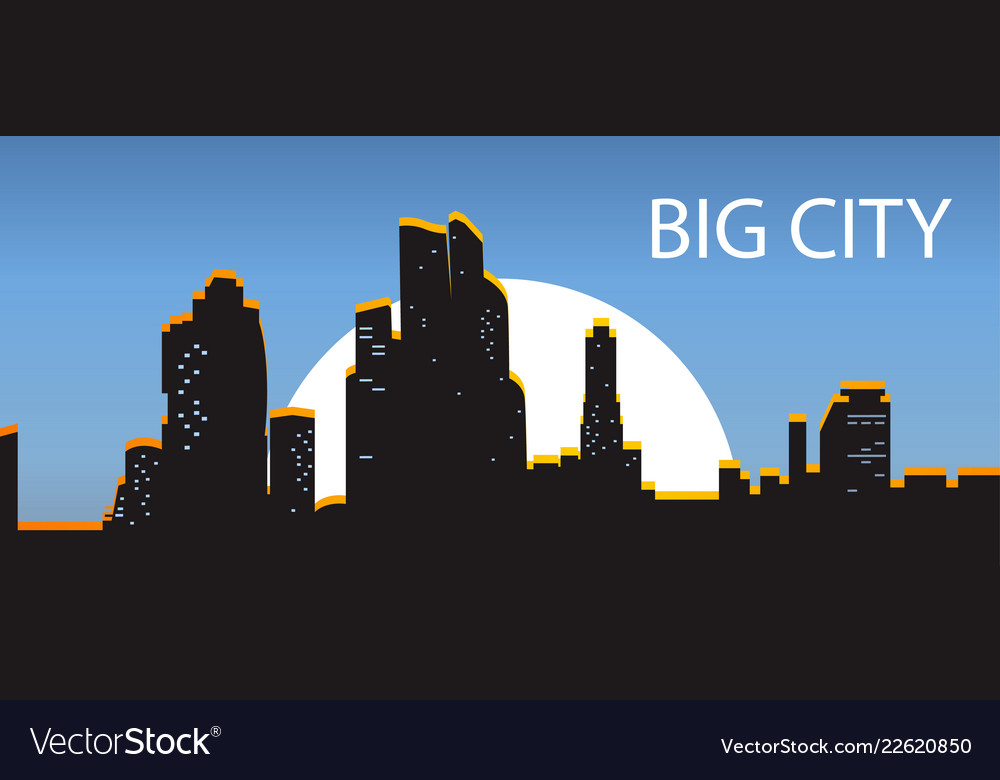 Blue banner big city night city illuminated by