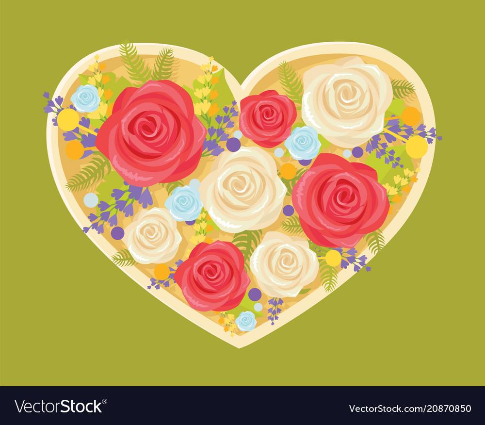 Bouquet of flowers in heart