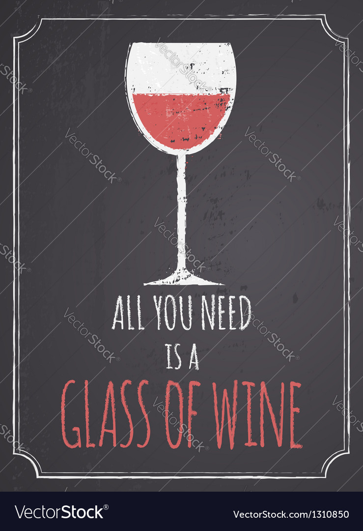 Chalkboard Red Wine Design vector image
