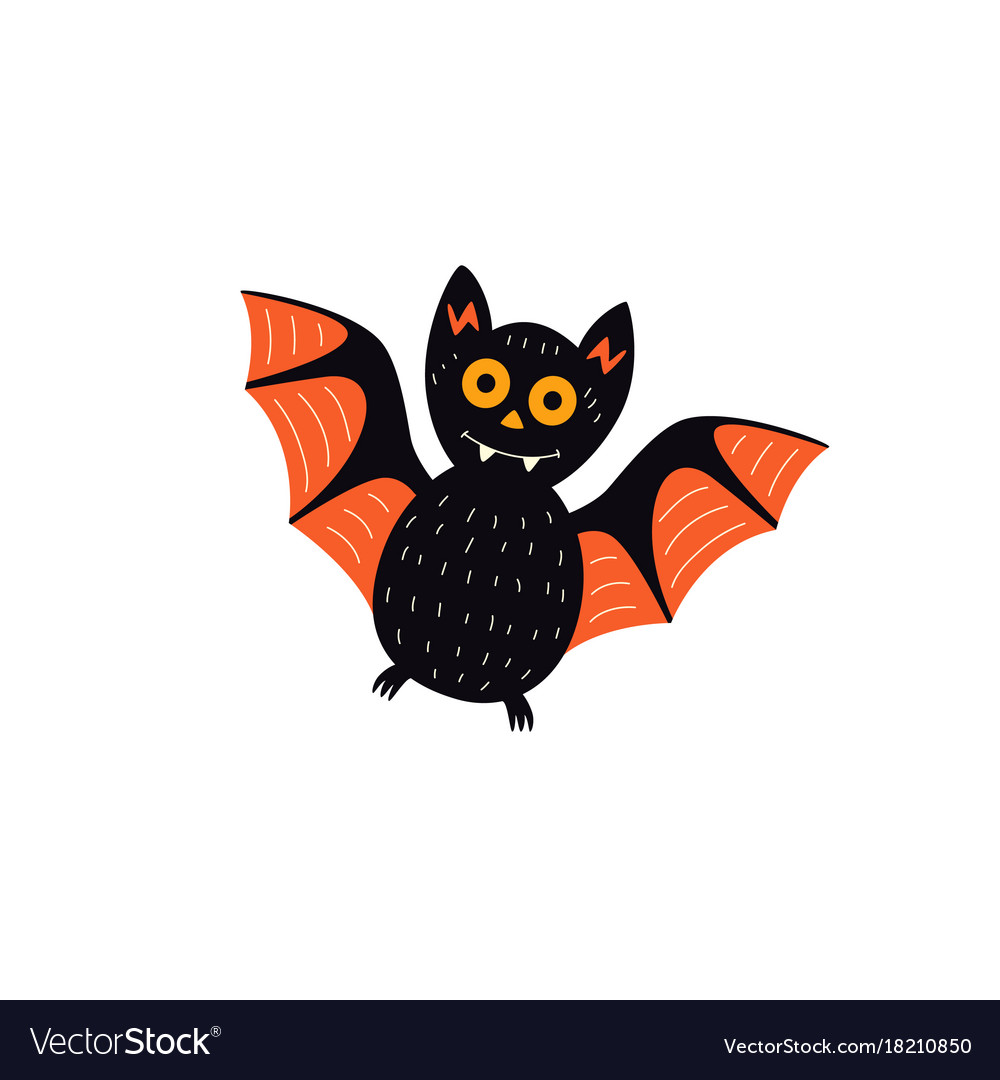 Flat halloween black bat