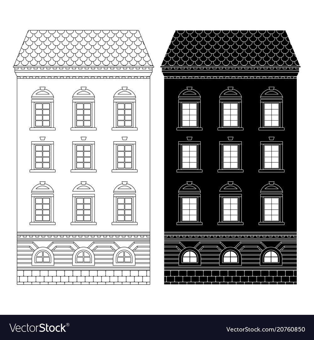 House tall building flat black and outline