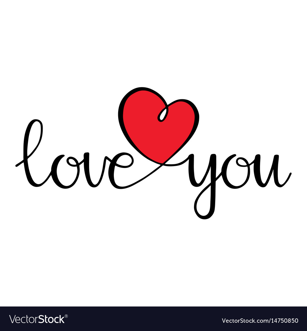 Download I love you love curly calligraphy sign with heart Vector Image