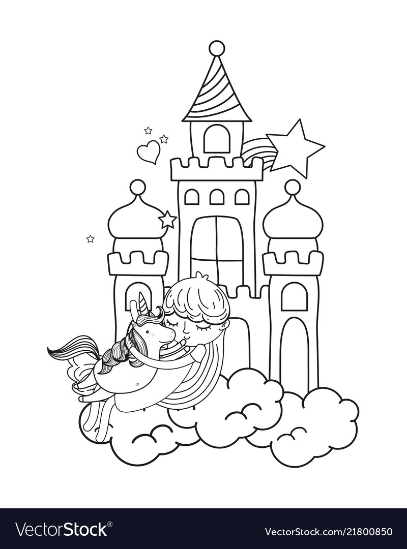 Line girl and cute unicorn in the castle with