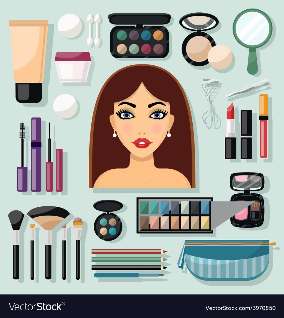 Make-up Icons Flat vector image
