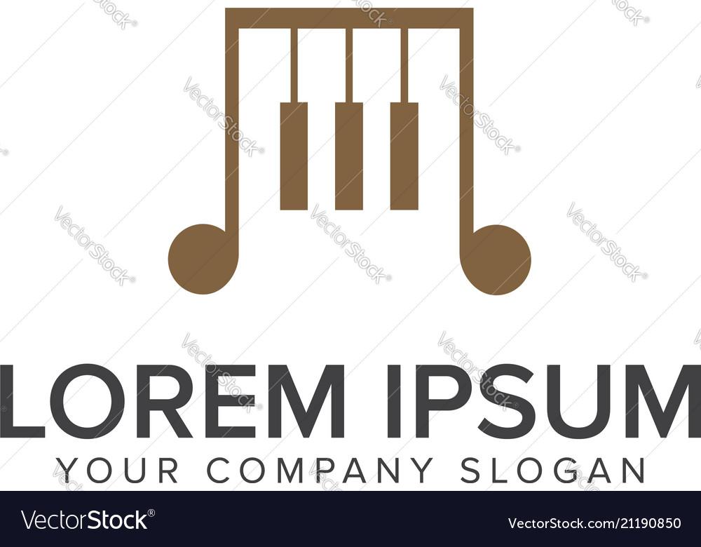 Music piano logo design concept template