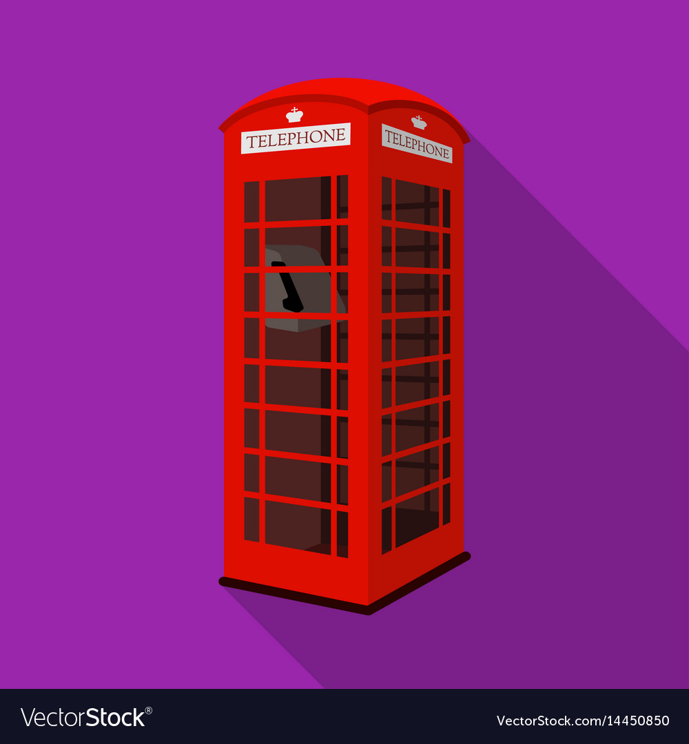 Red phone cabin icon in flat style isolated on