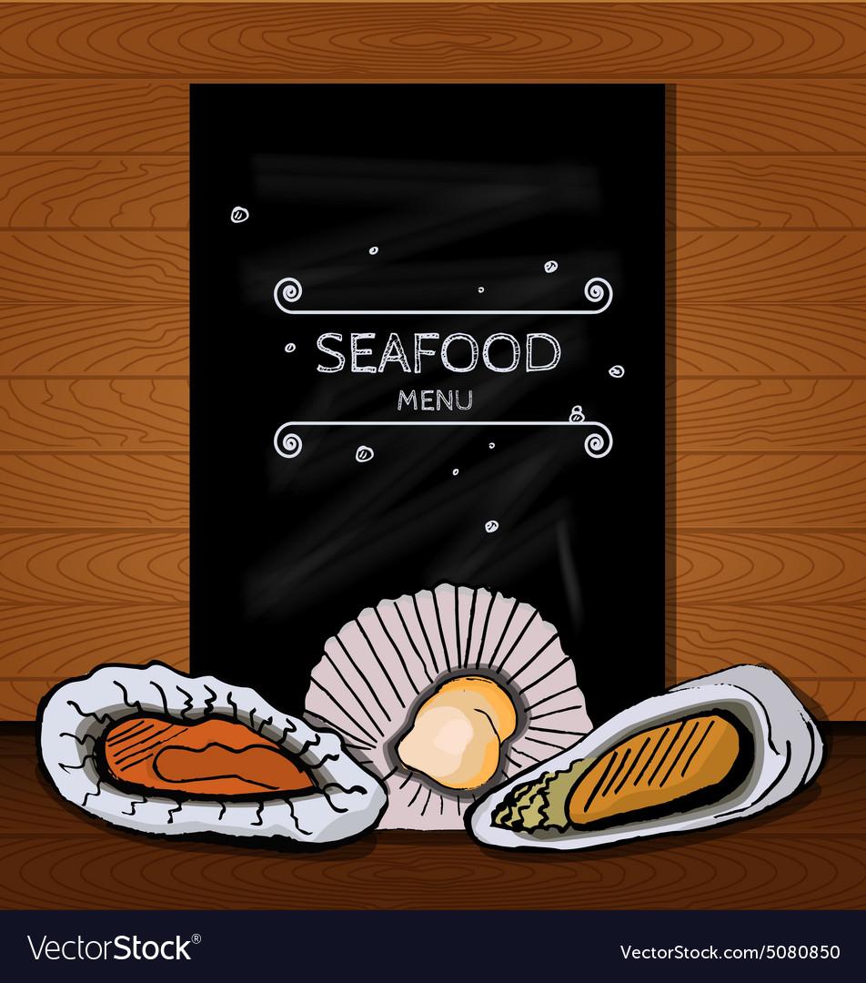 Seafood menus on a blackboard written in chalk for