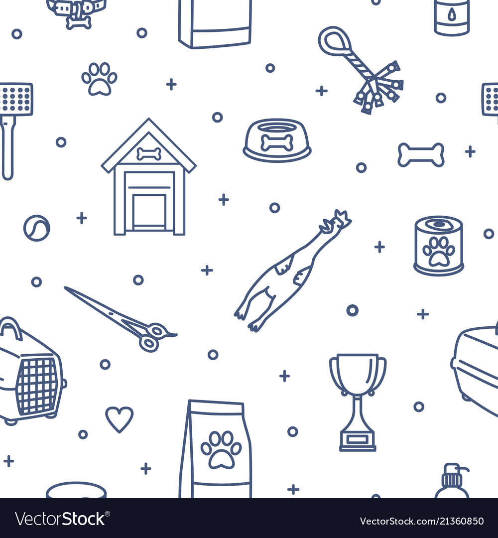 Seamless pattern with items for dogs drawn with