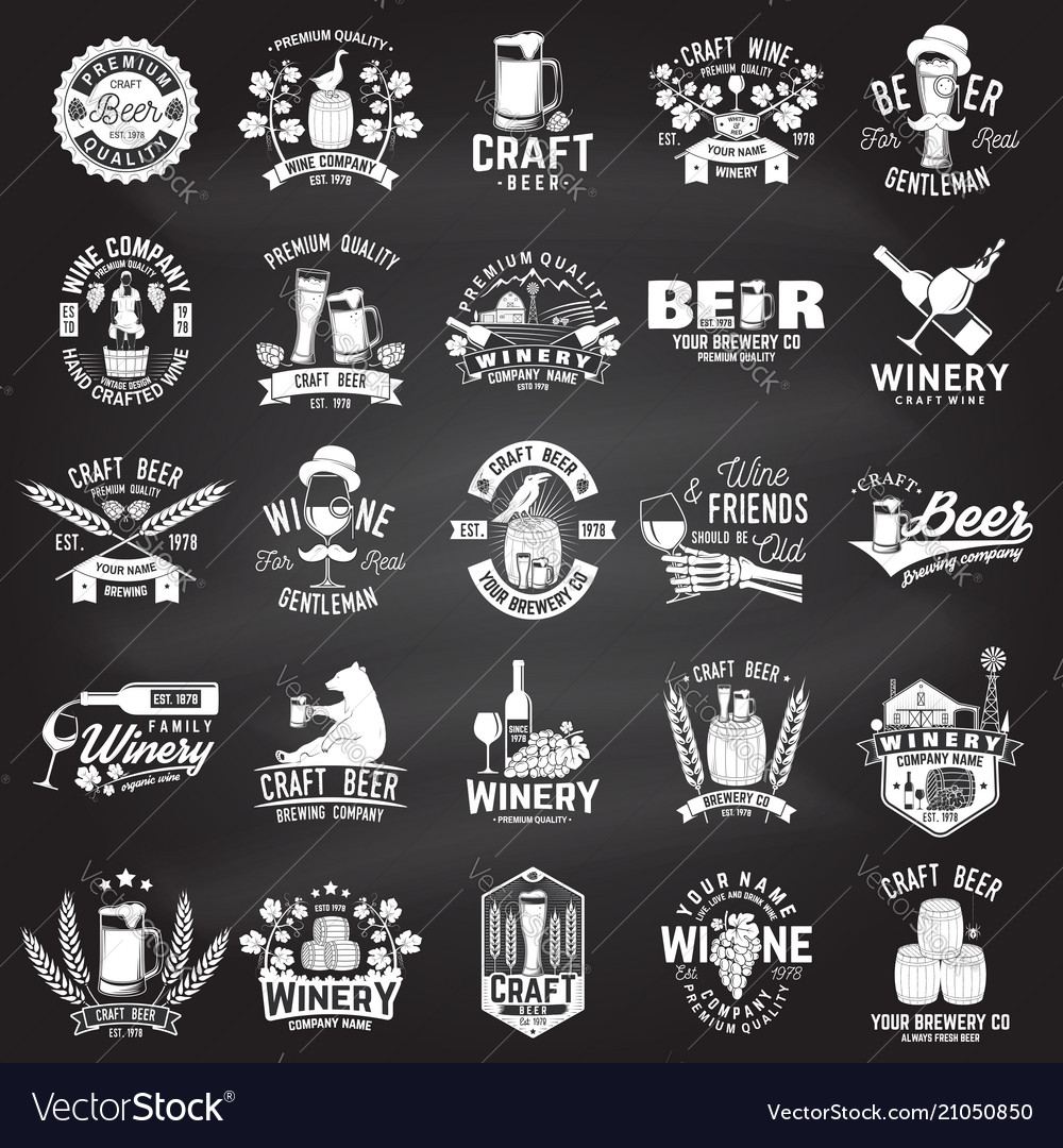 Set of craft beer and winery company badge sign