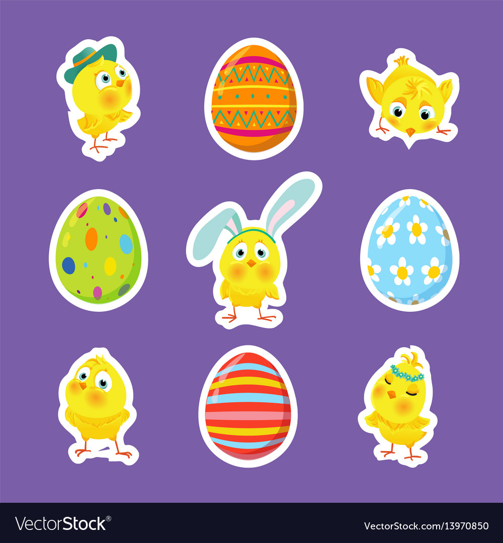 Set of easter stickers with chicks eggs vector image