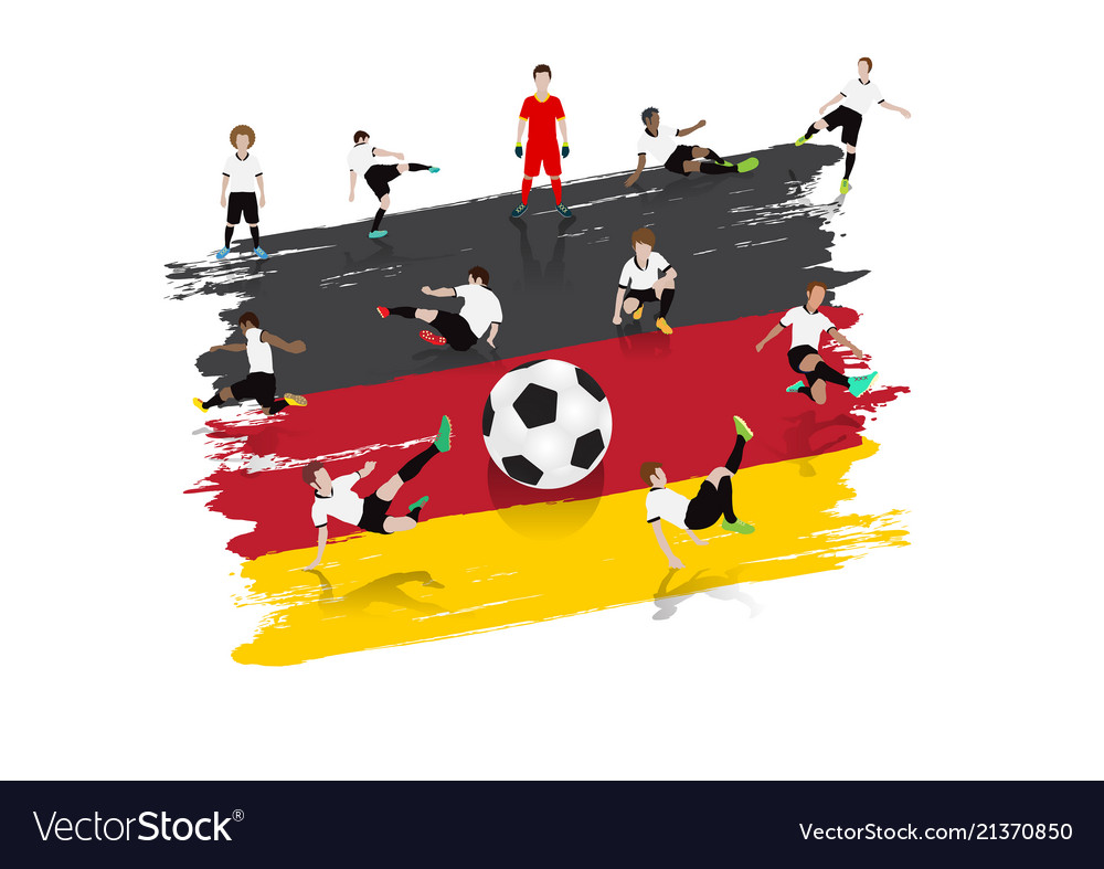 Soccer player team with germany flag background