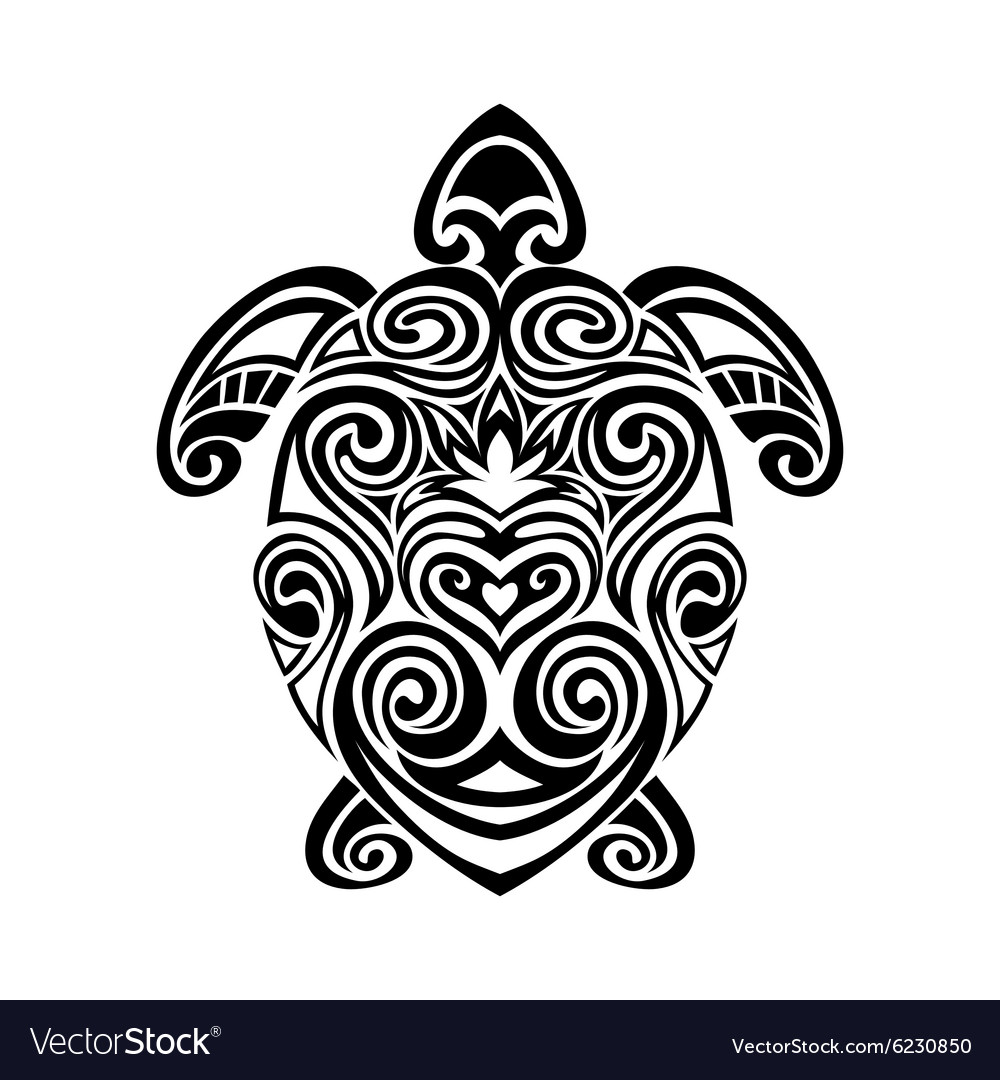 62dd7df62be9c Turtle in maori tattoo style Royalty Free Vector Image