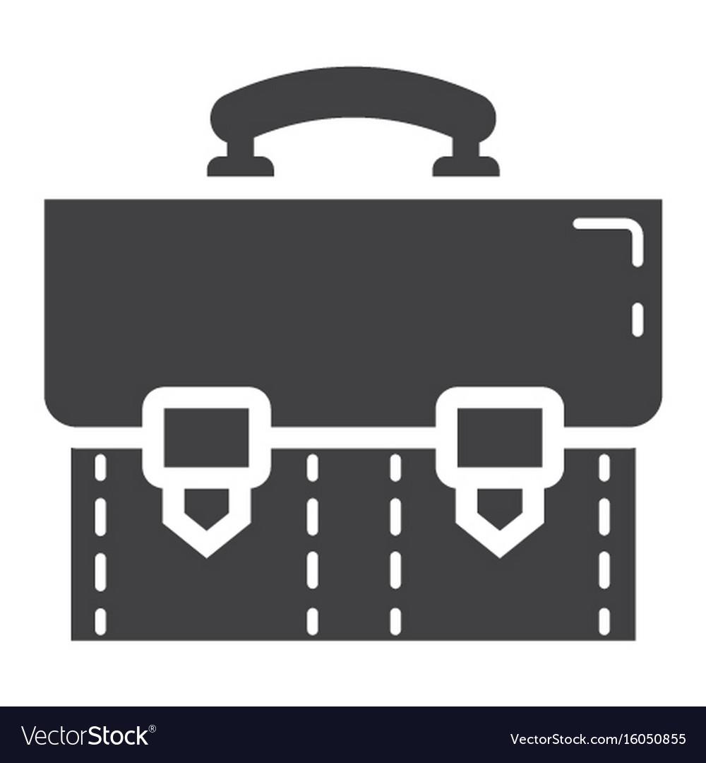 Briefcase solid icon business and portfolio vector image