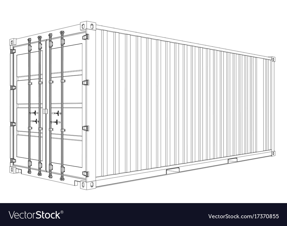 Cargo container wire-frame style Royalty Free Vector Image