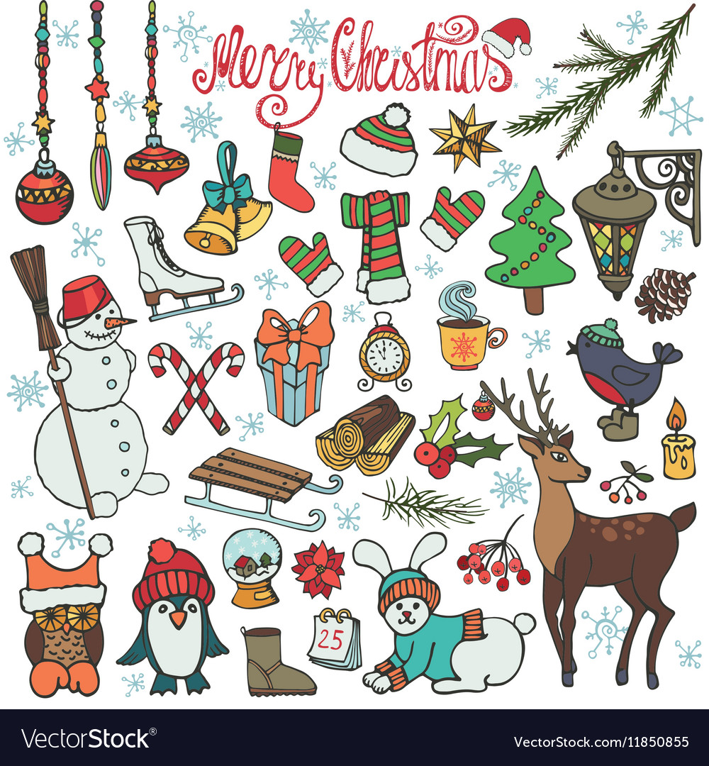 Christmas season doodle iconsanimalsColored