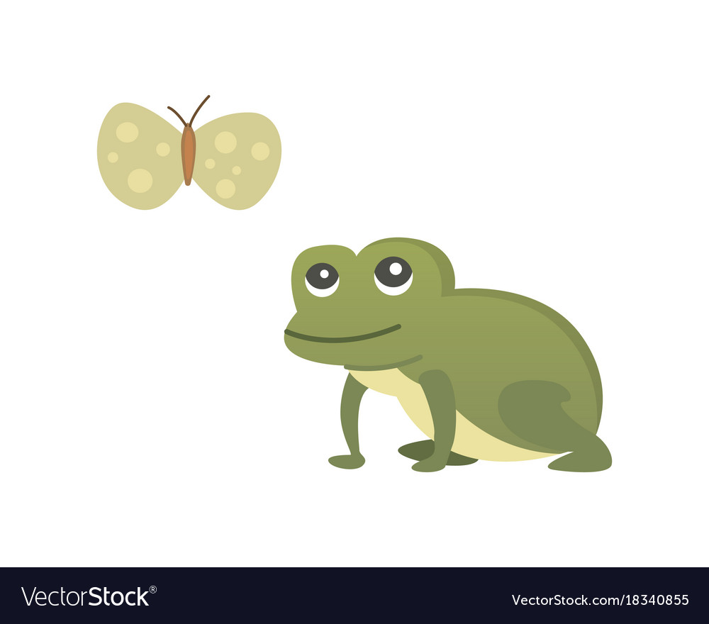Cute frog cartoon isolated