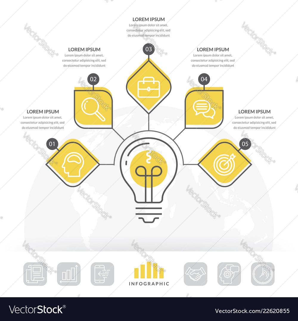 Design light bulb infographic 5 options
