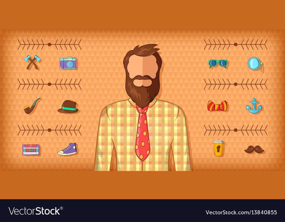 Hipster man horizontal banner brown cartoon style vector image