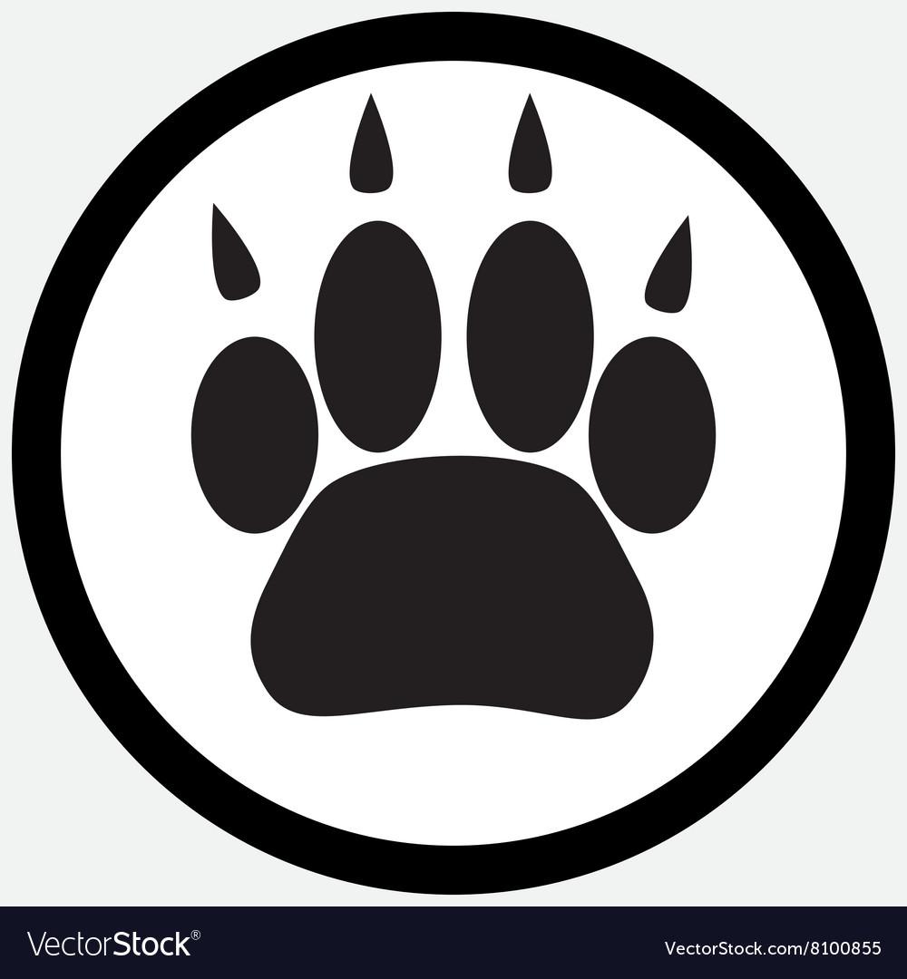 Monochrome icon foot print animal vector image